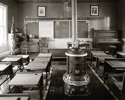 Schoolroom Photograph - 1900s Old Time Pioneer Classroom by Vintage Images
