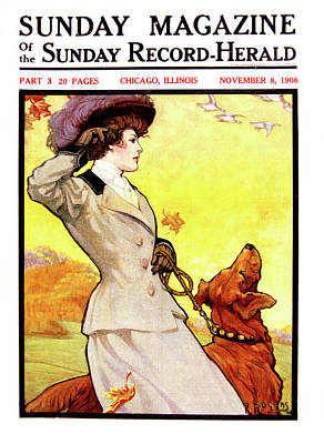 Geese Painting - 1900s Stylish Victorian Woman Autumn by Vintage Images