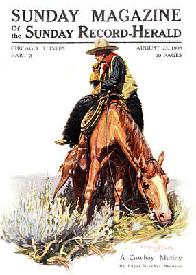 Cowboy Hat Painting - 1900s Sunday Magazine Cover Lone Cowboy by Vintage Images