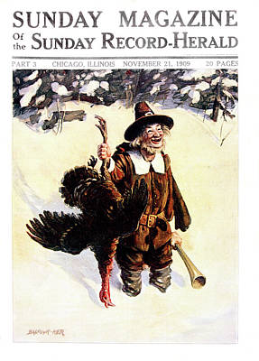Turkey Painting - 1900s Sunday Magazine Cover Silly Man by Vintage Images