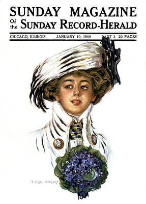 Upscale Painting - 1900s Woman Wearing Stylish Hat Clothes by Vintage Images