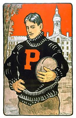 Digital Art - 1901 - Princeton University Football Poster - Color by John Madison