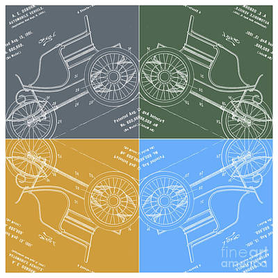 1901 Automobile Vehicle Patent Pop Art Osborn 1 Print by Nishanth Gopinathan