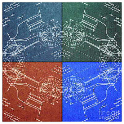 1901 Automobile Vehicle Patent Pop Art Osborn 2 Print by Nishanth Gopinathan