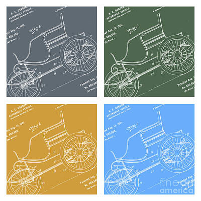 1901 Automobile Vehicle Patent Pop Art Osborn 3 Print by Nishanth Gopinathan