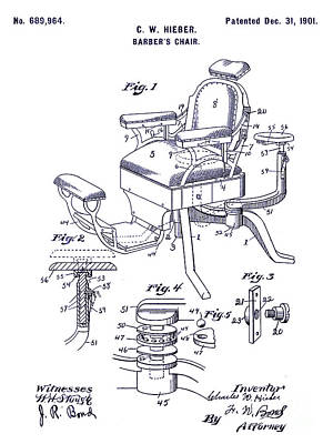 Chair Drawing - 1901 Barber Chair Patent Blueprint by Jon Neidert