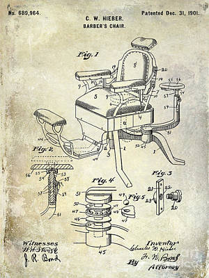 Chair Drawing - 1901 Barber Chair Patent Drawing  by Jon Neidert