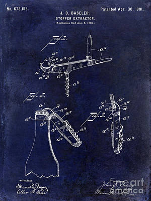1901 Corkscrew Patent Drawing Blue Art Print by Jon Neidert