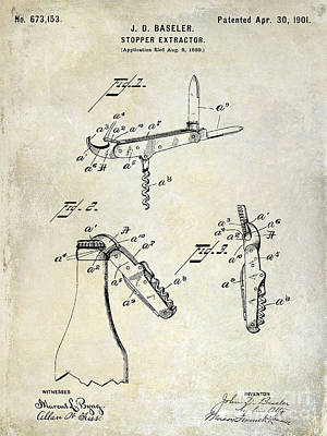 Cocktails Photograph - 1901 Corkscrew Patent Drawing by Jon Neidert