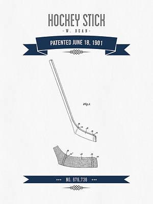 1901 Hockey Stick Patent Drawing - Retro Navy Blue Art Print by Aged Pixel