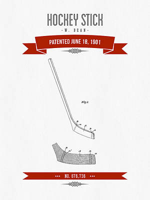 1901 Hockey Stick Patent Drawing - Retro Red Art Print by Aged Pixel