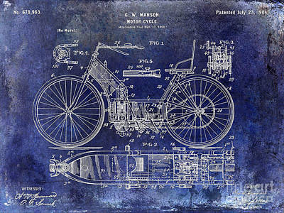 Kawasaki Photograph - 1901 Motorcycle Patent Drawing Blue by Jon Neidert