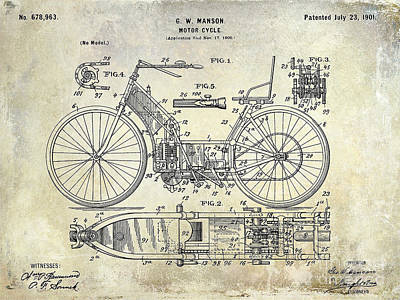 1901 Motorcycle Patent Drawing Art Print by Jon Neidert