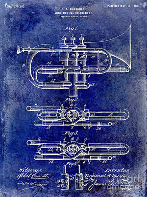 Wind Instrument Photograph - 1901 Wind Musical Instrument Patent Drawing Blue by Jon Neidert