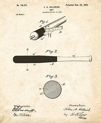 1902 Baseball Bat Patent Art Print by Bill Cannon