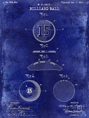 Cue Ball Photograph - 1902 Billiard Ball Patent Drawing Blue by Jon Neidert