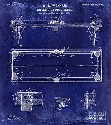 Cue Ball Photograph - 1902 Billiard Table Patent Drawing Blue by Jon Neidert