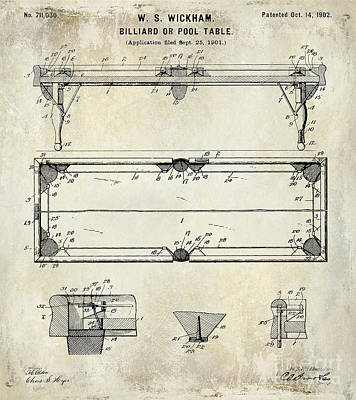Cue Ball Photograph - 1902 Billiard Table Patent Drawing by Jon Neidert