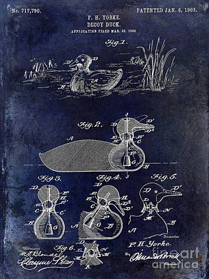 1902 Duck Decoy Patent Drawing Art Print by Jon Neidert