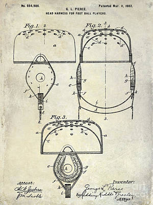 Baltimore Photograph - 1902 Football Helmet Patent Drawing by Jon Neidert