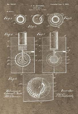 Bogie Digital Art - 1902 Golf Ball Patent by Dan Sproul