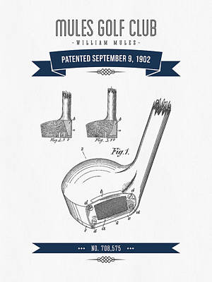 Sports Royalty-Free and Rights-Managed Images - 1902 Mules Golf Club Patent Drawing - Retro navy Blue by Aged Pixel