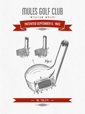 Golf Digital Art - 1902 Mules Golf Club Patent Drawing - Retro Red by Aged Pixel
