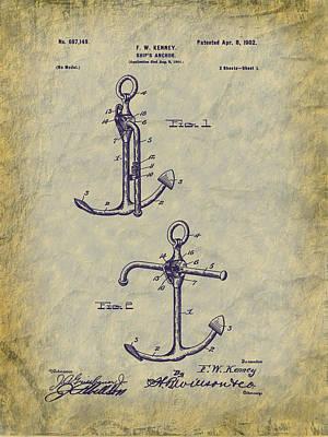 1902 Ship's Anchor Patent Art Art Print