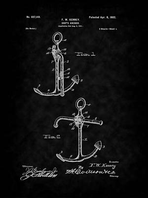 Digital Art - 1902 Ship's Anchor Patent Art-bk by Barry Jones
