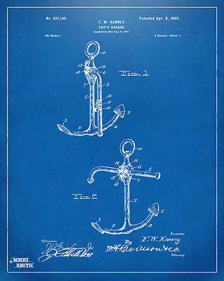 1902 Ships Anchor Patent Artwork - Blueprint Art Print by Nikki Marie Smith