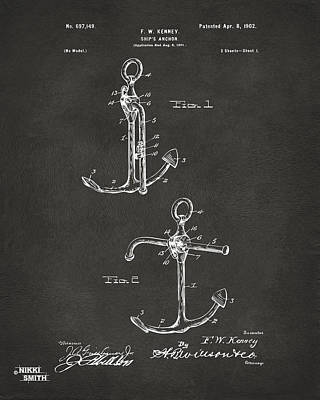 1902 Ships Anchor Patent Artwork - Gray Art Print
