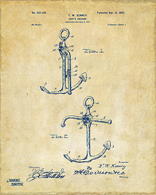Sailor Digital Art - 1902 Ships Anchor Patent Artwork - Vintage by Nikki Marie Smith