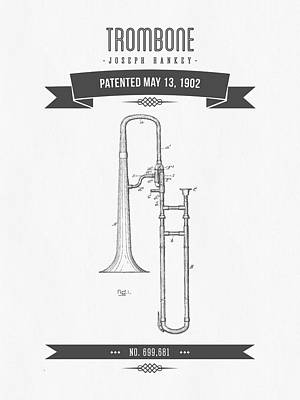 Trombone Digital Art - 1902 Trombone Patent Drawing by Aged Pixel