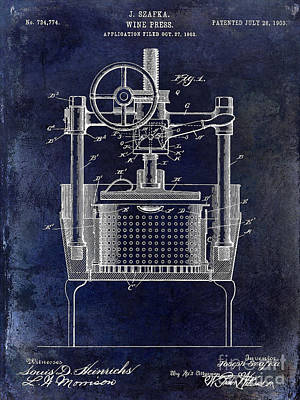Wine Vineyard Photograph - 1902 Wine Press Patent Drawing Blue by Jon Neidert