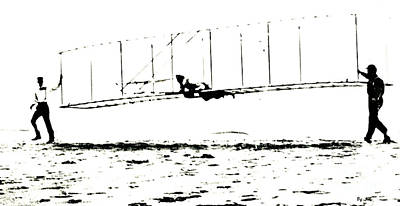 Mixed Media - 1902 Wright Brothers Glider Tests by R Muirhead Art