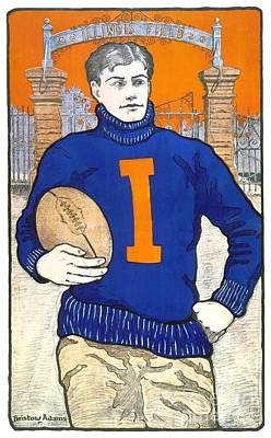 Digital Art - 1903 - University Of Illinois Football Poster - Color by John Madison