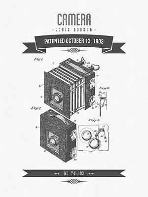 Camera Digital Art - 1903 Camera Patent Drawing - Retro Gray by Aged Pixel
