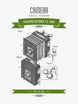 Camera Digital Art - 1903 Camera Patent Drawing - Retro Green by Aged Pixel