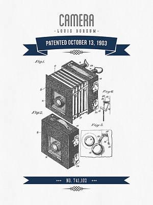 1903 Camera Patent Drawing - Retro Navy Blue Art Print