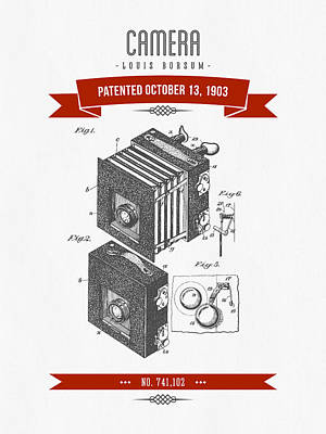 1903 Camera Patent Drawing - Retro Red Art Print by Aged Pixel
