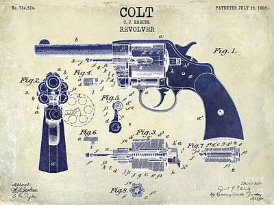 Two Tone Photograph - 1903 Colt Revolver Patent Drawing 2 Tone by Jon Neidert