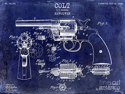 Smith And Wesson Photograph - 1903 Colt Revolver Patent Drawing Blue by Jon Neidert