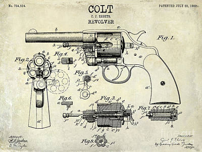 1903 Photograph - 1903 Colt Revolver Patent Drawing by Jon Neidert