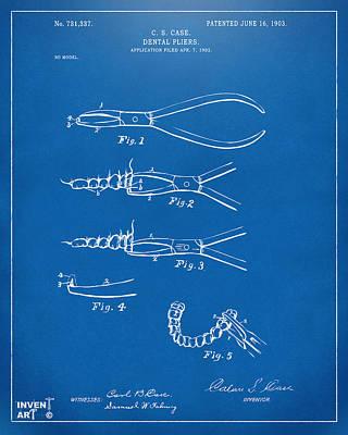 1903 Dental Pliers Patent Blueprint Art Print by Nikki Marie Smith