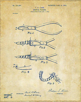 Digital Art - 1903 Dental Pliers Patent Vintage by Nikki Marie Smith