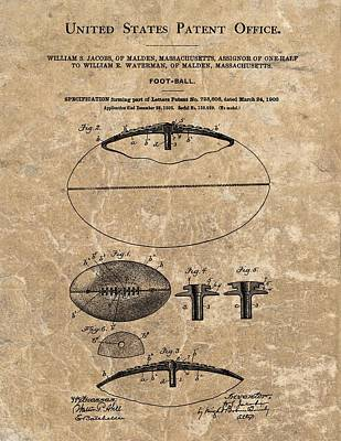 American Football Mixed Media - 1903 Football Patent Marble by Dan Sproul