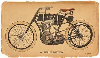 1903 Harley Davidson Art Print by RG McMahon