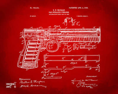 1903 Mcclean Pistol Patent Artwork - Red Print by Nikki Marie Smith
