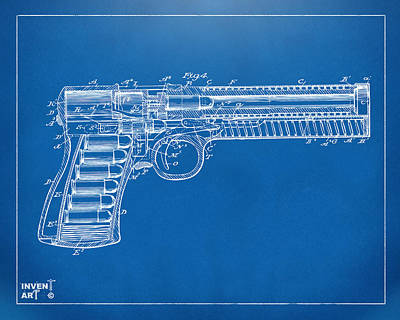 X Ray Digital Art - 1903 Mcclean Pistol Patent Minimal - Blueprint by Nikki Marie Smith