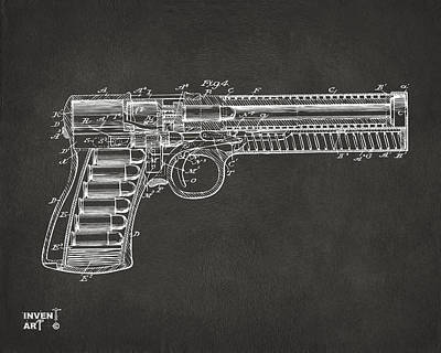 1903 Mcclean Pistol Patent Minimal - Gray Print by Nikki Marie Smith